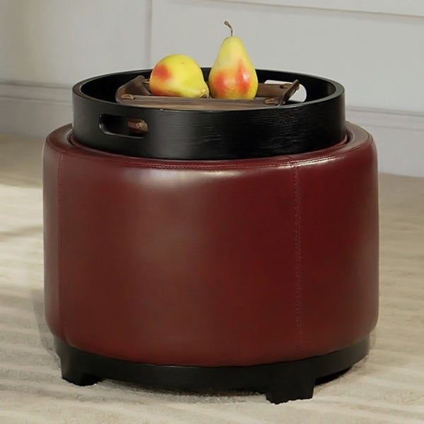 Abbyson Living Manhattan Bicast Leather Round Ottoman with Tray
