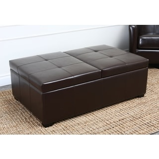Abbyson Living Frankfurt Dark Brown Bicast Leather Double Flip-top Storage Ottoman