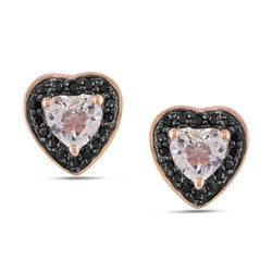 Miadora 10k Pink Gold Morganite and 1/8ct TDW Black Diamond Earrings