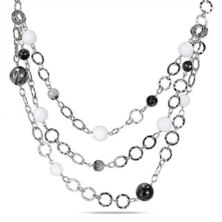 Miadora Sterling Silver White Agate and Rutilated Quartz Loop Necklace