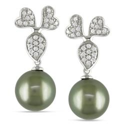 Miadora 14k White Gold 1/4ct TDW Black Tahitian Pearl Earrings (G-H, I1-I2)
