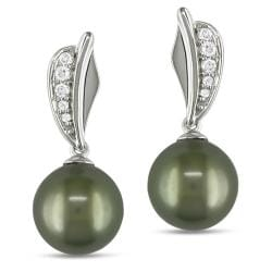 Miadora 14k White Gold 1/10ct TDW Tahitian Pearl Earrings (G-H, I1-I2)