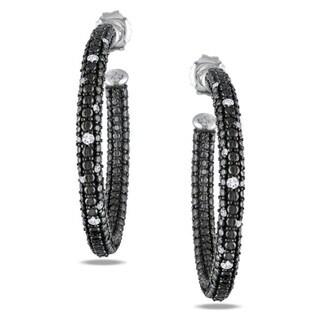 Miadora Sterling Silver 1/4ct TDW Diamond Hoop Earrings (G-H, I2-I3)