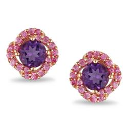 Miadora Pink Silver 1 3/4 ct TGW Amethyst and Created Pink Sapphire Stud Earrings