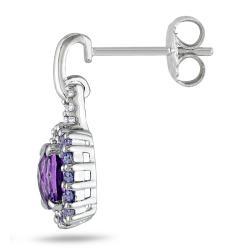 Miadora Sterling Sliver 2 1/3 ct TGW Multi Gemstone and Diamond Earrings (G-H,I2)