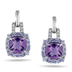 Miadora Sterling Sliver 2 1/3 ct TGW Multi Gemstone and Diamond Earrings (G-H,I2)