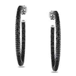 Miadora Sterling Silver 1/2 ct TDW Black Diamond Hoop Earrings