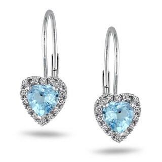 Miadora 10k White Gold 1 1/10 ct TGW Blue Topaz 1/7 ct TDW Earrings (G-H,I2-3)