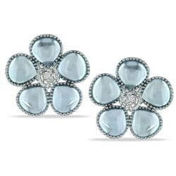 Silver 12 1/2 ct TGW Blue Topaz and Diamond Earrings (G-H, I3)