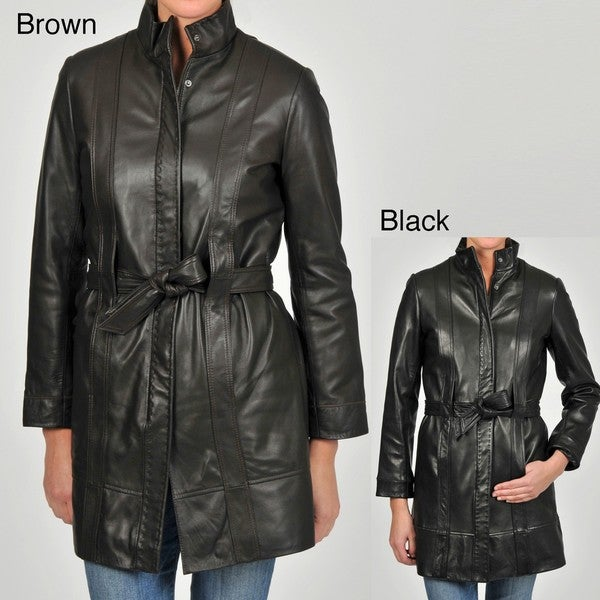 Knoles & Carter Women's Plus Size Belted Leather Jacket