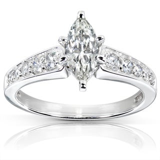 Annello 14k Gold 1 1/10ct TDW Marquise Diamond Engagement Ring (J, SI1-SI2)