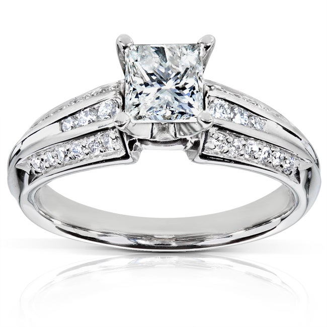 Annello Palladium 1ct TDW Princess Cut Diamond Ring