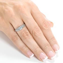Annello Palladium 1ct TDW Princess Cut Diamond Ring
