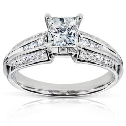 Annello Palladium 1ct TDW Princess Cut Diamond Ring (H-I, I2-I3)(Size 5)