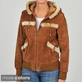 Knoles &amp; Carter Women&#39;s Plus Size Suede Sherpa Hood Bomber Jacket