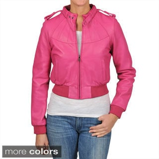 Knoles & Carter Women's Plus Size Bomber Leather Jacket