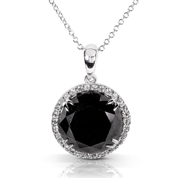 Annello 14k White Gold 7 1/3ct TDW Black and White Diamond Necklace (H-I, I1-I2)