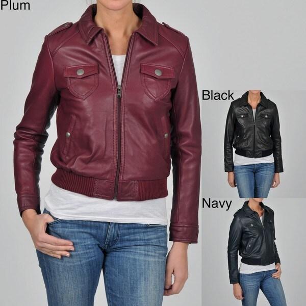 Knoles & Carter Women's Plus Size Leather Bomber Jacket