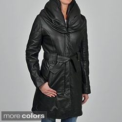 Knoles & Carter Women's Plus Size Leather Pillow Collar Quilted-sleeve Belted Jacket