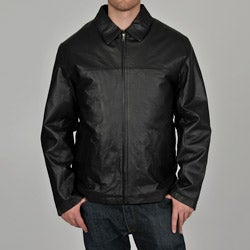Knoles & Carter Men's Black Classic Chest Zip Open-Bottom Leather Jacket