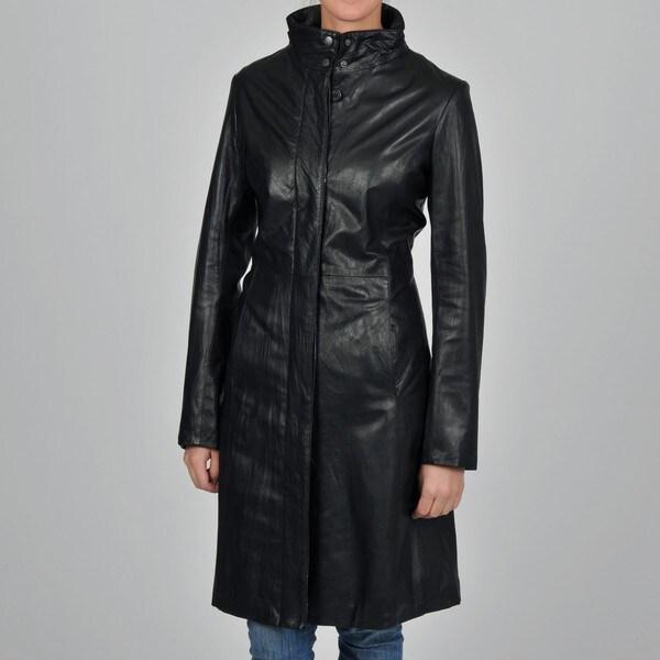 Knoles & Carter Women's Plus Size Leather 7/8-length Jacket