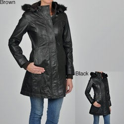 Knoles & Carter Women's Plus Size Leather Faux Fur-trimmed Hooded Jacket
