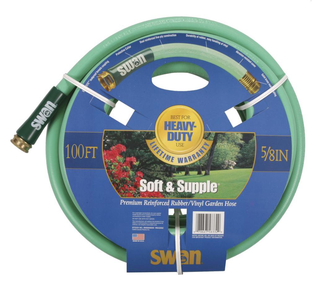 """Swan Soft Supple 5/8""""x100' Reinf Rubber/vinyl Garden Hose"""