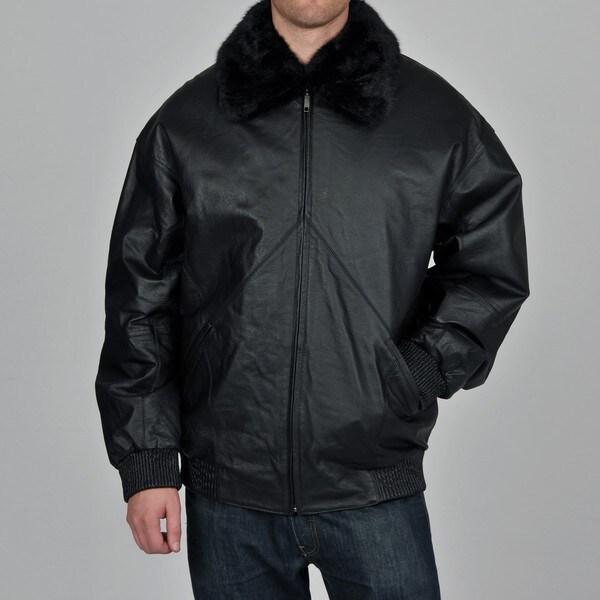 Knoles & Carter Men's Big & Tall Faux Fur Collar Urban Bomber Leather Jacket