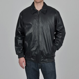 Knoles & Carter Men's Big & Tall Rib Sweep & Cuff Urban Leather Bomber Jacket