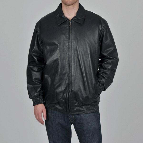 Knoles & Carter Men's Big & Tall Rib Sweep & Cuff Urban Leather Bomber Jacket