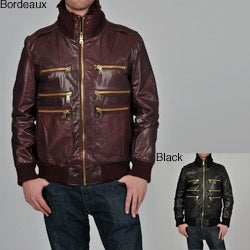 Knoles & Carter Men's Big & Tall Triple Collar Leather Bomber Jacket