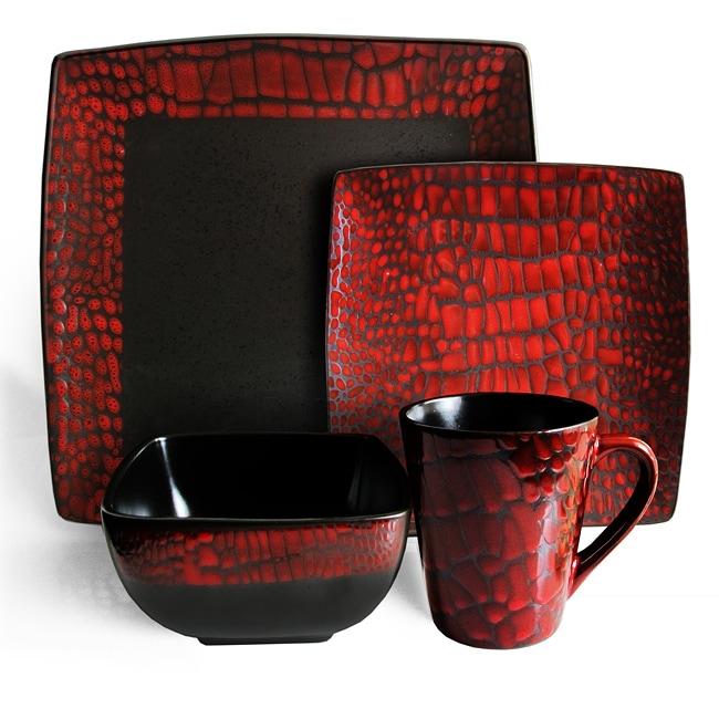 American Atelier Boa Red 16-piece Dinnerware Set