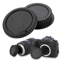 INSTEN Black Plastic Body Cap and Lens Rear Cover Cap for Canon EOS
