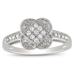 Miadora 10k White Gold 1/10ct TDW Diamond  Ring (G-H, I2-I3)