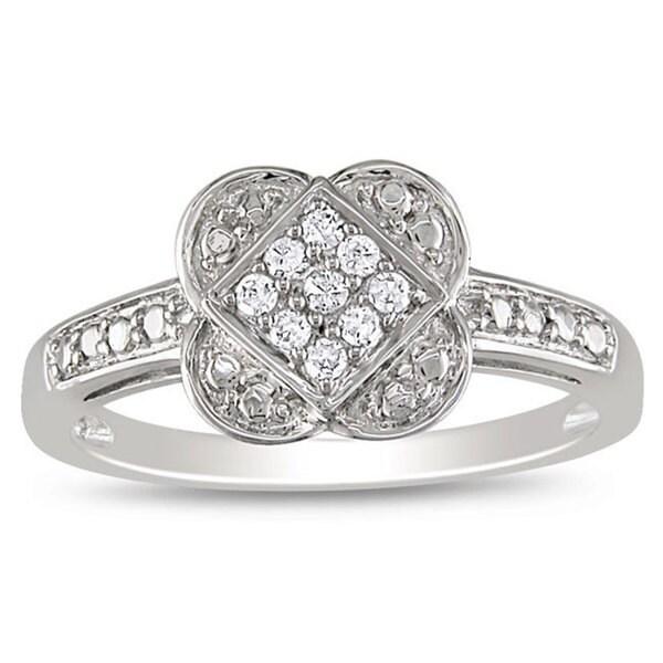 Haylee Jewels 10k White Gold 1/10ct TDW Diamond Ring (G-H, I2-I3)