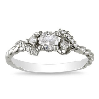 Miadora 14k White Gold 1/2ct TDW Rope Twist Diamond Ring (G-H, I1-I2)