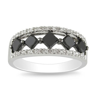 Miadora 10k White Gold 1ct TDW Black and White Diamond Ring (I-J, I2-I3)