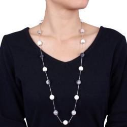 Miadora Sterling Silver White Agate and Black Rutilated Quartz Endless Necklace