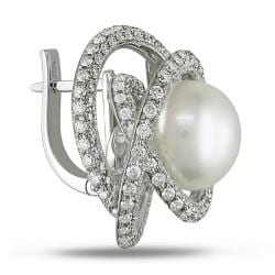 Miadora 18k White Gold 4ct TDW Diamond and Pearl Earrings (11-12 mm)(G-H, SI1-SI2)
