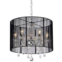 Emma Black Shade and Iron Base Crystal Chandelier