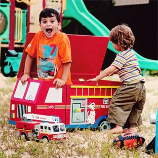 Teamson Kids Fire Engine Trunk with Wheels