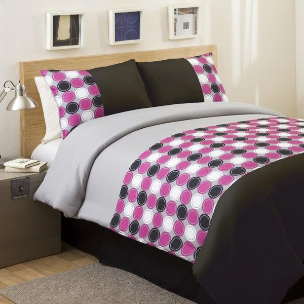Lush Decor Pink/ Grey Mod Print 4-piece Full-size Comforter Set