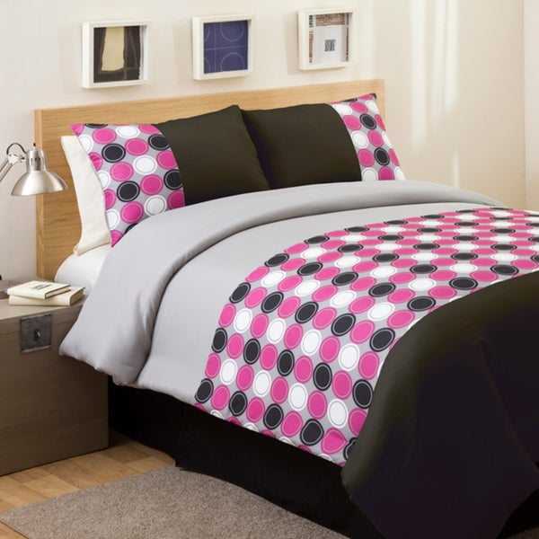 lush decor pink grey mod print twin size 3 piece comforter set 13959893. Black Bedroom Furniture Sets. Home Design Ideas
