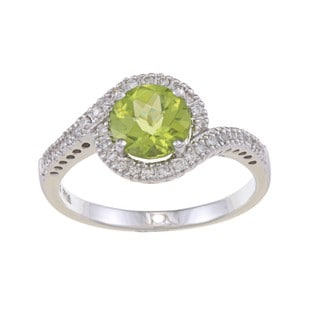 14k White Gold Peridot and 1/5ct TDW Diamond Ring (G-H, SI1-SI2)