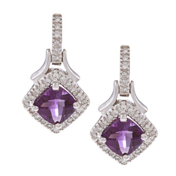 14k White Gold Amethyst and 1/4ct TDW Diamond Earrings (G-H, SI1-SI2)