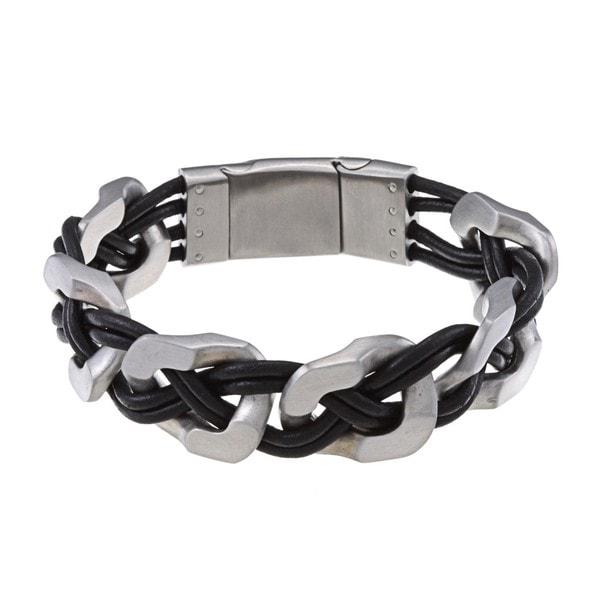 La Preciosa Stainless Steel Matte Wide Links w/ Braided Leather Bracelet