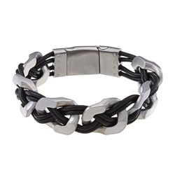 La Preciosa Stainless Steel Matte Wide Links w/ Braided Leather Bracelet