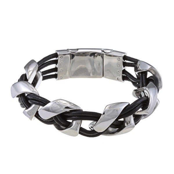 La Preciosa Stainless Steel Braided Leather Bracelet
