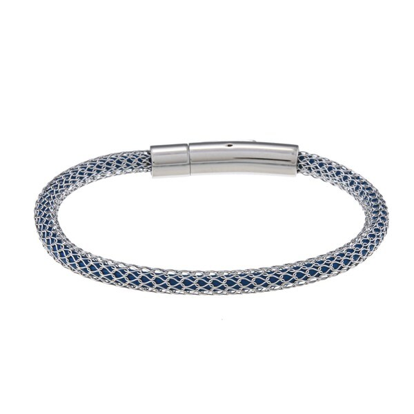 La Preciosa Stainless Steel Mesh-Covered Dark Blue Cord Bracelet