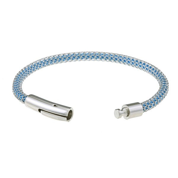 La Preciosa Stainless Steel Mesh-covered Sky Blue Cord Bracelet